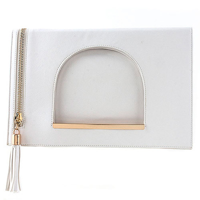 TASSEL ACCENT GEOMETRIC LASER CUT OUT ACCENT FOLD OVER LEATHER CLUTCH