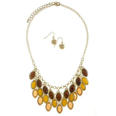 FACETED OPAQUE GEM CLUSTER NECKLACE SET