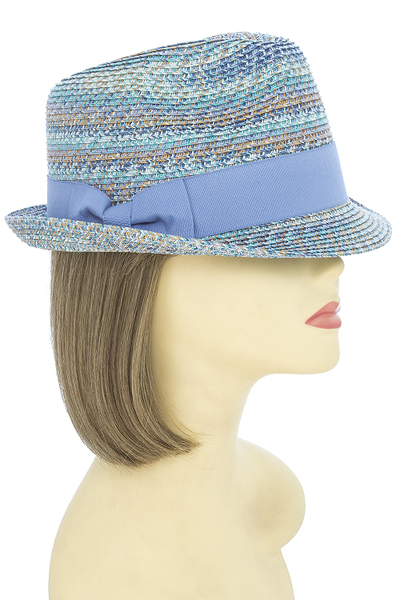 Striped Woven Fedora Hat