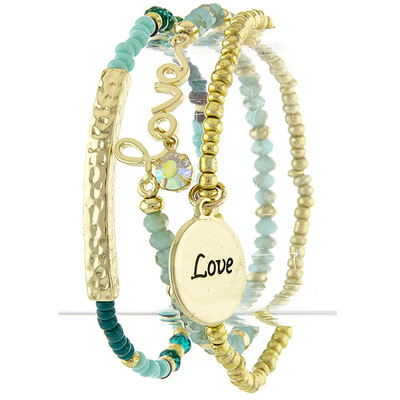 LOVE CHARM MULTI BEAD BRACELET SET