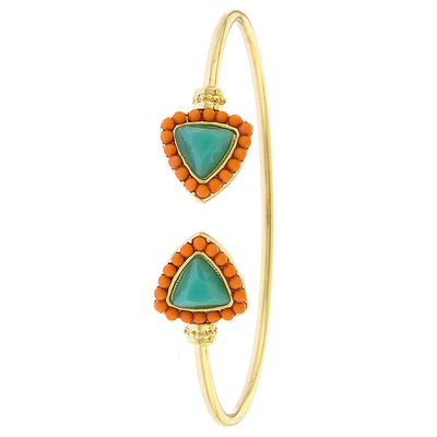 BEADED TRIANGLE TIP CUFF BRACELET