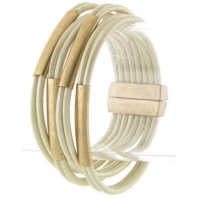 MULTI TUBE ALIGNED LEATHER BRACELET