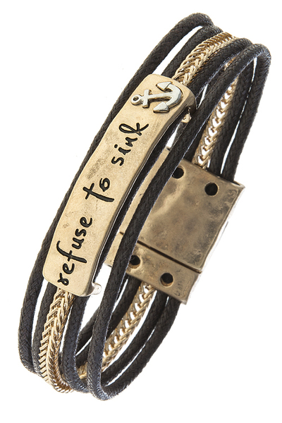 Refuse To Sink Anchor Cord Bracelet