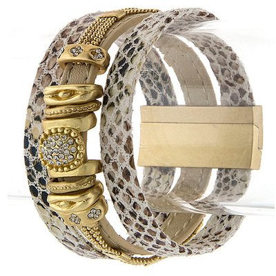 MIX ORNATE ALIGNED LEATHER BRACELET