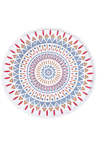 MANDALA PRINT FRINGED BEACH TOWEL