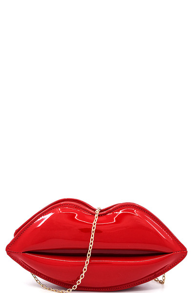 Designer Hot Kiss Crossbody Clutch with Chain