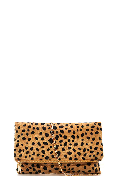 Trendy Soft Fur Leopard Party Clutch with Chain