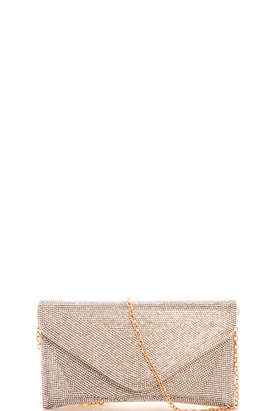 Fashion Multi Rhinestone Evening Clutch with Chain