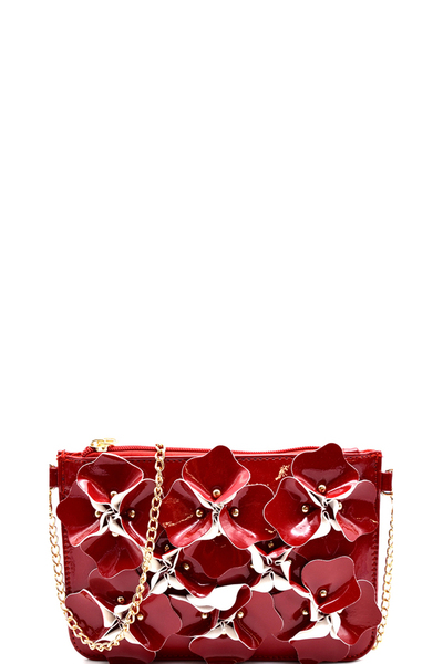 Studded Flower Accent Patent Wristlet Cross Body
