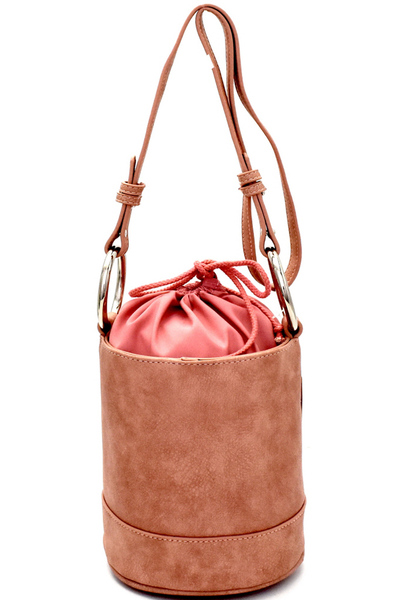 Ring Handle Drawstring Pouch Bucket Shoulder Bag