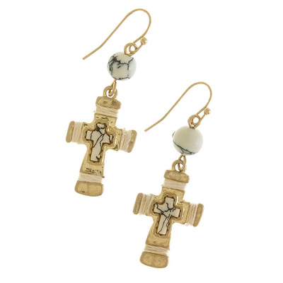 CROSS WITH FAUX ORB GEM DROP EARRINGS