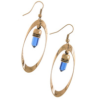 FAUX GEM OVAL FRAMED EARRINGS