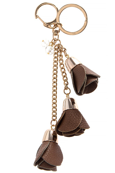 Faux Leather Floral Cluster Key Ring