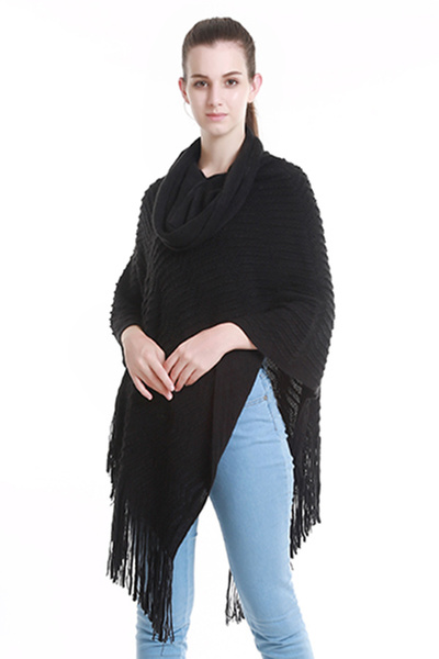 SOLID COWL NECK CROCHET PONCHO WITH FRINGE