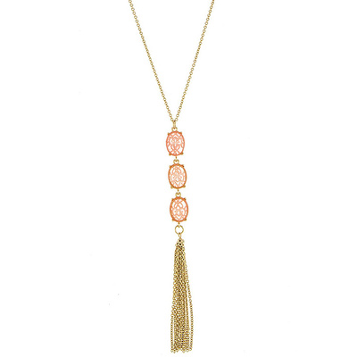 PRONG SET ACRYLIC ORNATE LINK WITH TASSEL ACCENT NECKLACE
