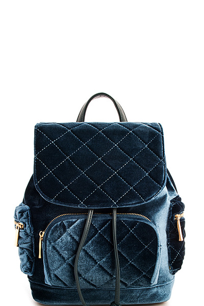 Fashion Hot Trendy Velvet Quilted Backpack