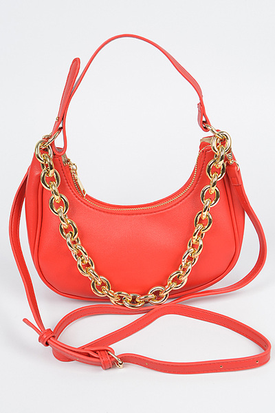 Chain Accent Retro 2-Way Shoulder Bag
