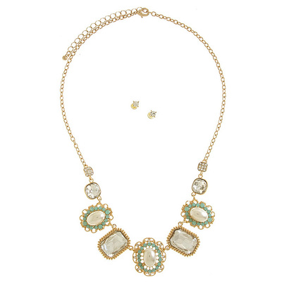 CRYSTAL FRAMED PEARL LINK NECKLACE SET