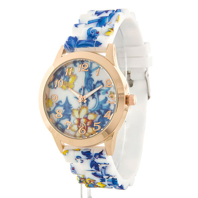 ELEGANT FLORAL PRINT SILICONE BAND WATCH