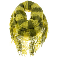 DOUBLE LENGTH STRIPED KNIT FRINGED INFINITY SCARF