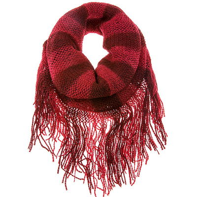 SINGLE LENGTH STRIPED KNIT FRINGED INFINTY SCARF