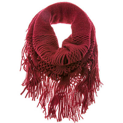 DOUBLE LENGTH SQUARE KNIT FRINGED INFINITY SCARF