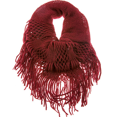 SINGLE LENGTH SQUARE KNIT FRINGED INFINITY SCARF