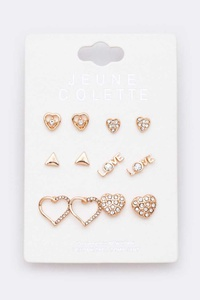 6 Pairs Mix Stud Earrings Set