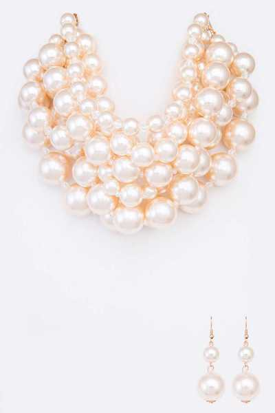Mix Pearl Layer Necklace Set