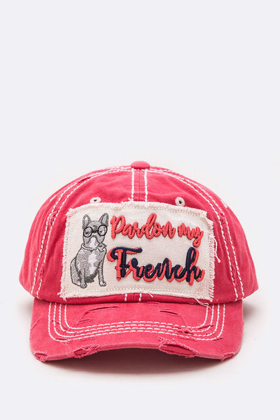 Pardon My French Embroidered Distress Cotton Cap