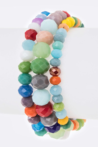 Mix Size Crystal Beads Stretch Bracelet Set