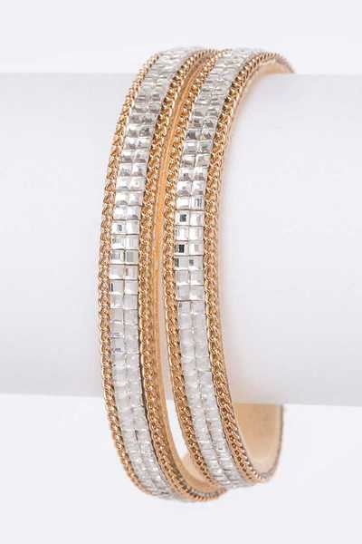 Crystal Chain Sueded Double Wrap Magnetic Bracelet