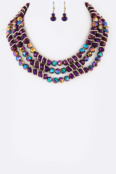 Crystal Layer Collar Necklace Set