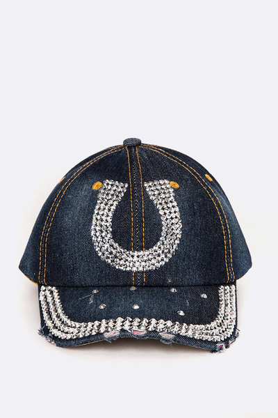 Crystal Horseshoe Embellished Fashion Denim Cap