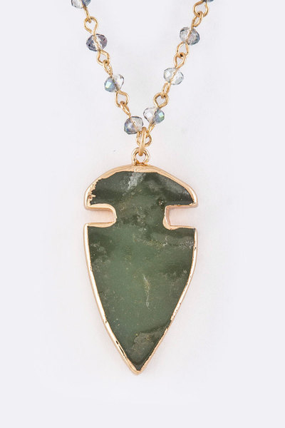Semi Precious Arrowhead Pendant Necklace