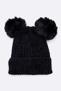 Double Pom Chenille Beanie Set
