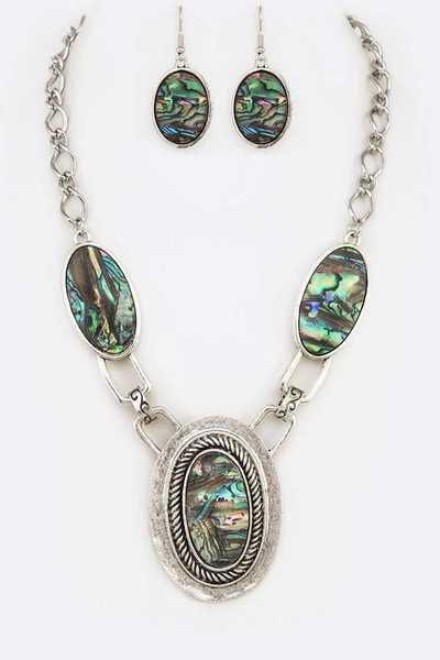 Oval Turquoise Medalion Necklace Set