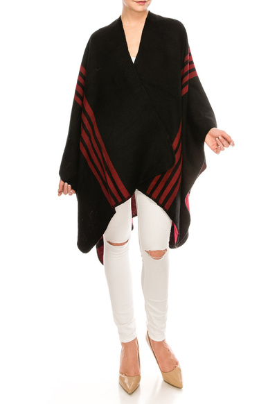 Warm Poncho with Stripes