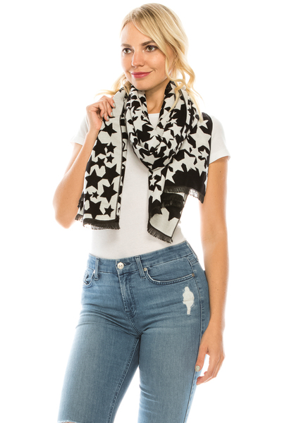 STAR PRINTED OBLONG SCARF
