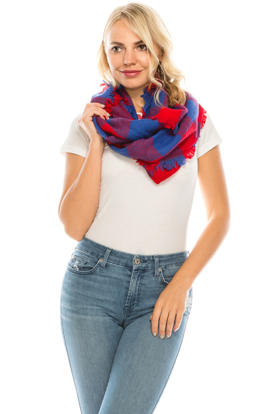 Soft plaid check infinity scarf