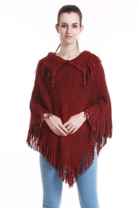 FRINGED PONCHO WITH COLLAR