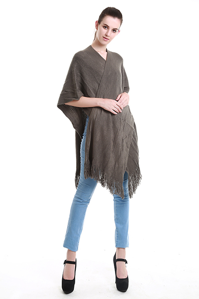 SOLID SHAWL PONCHO WITH FRINGED DETAILING