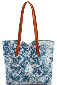 2in1 Reversible Washing Denim Tote with LongSmooth Textured PU L