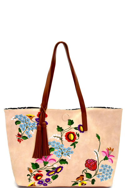 Reversible Embroidery Princess Shopper Bag