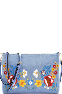 Chic Embroidery Designer Clutch with Long Strap