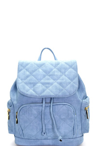 Quilt Accent Multi Pocket Flap Backpack