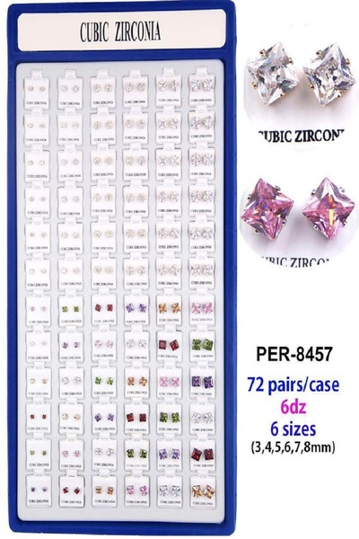72 Pair Mix Size Cubic Zirconia Stud Set