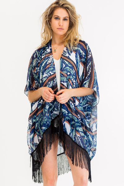 ABSTRACT LEAFS AND CHAINS KIMONO