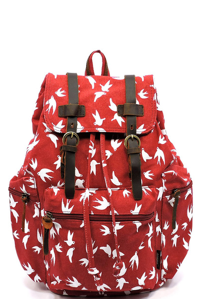 Swallow Printed Military Canvas Backpack