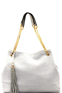 Tassel Accent Denim Chain Tote